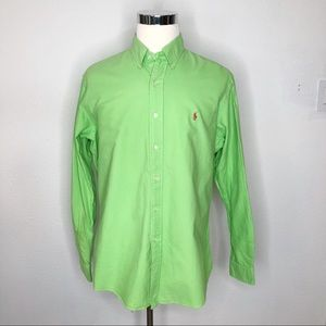 Ralph Lauren Lime Green Dress Shirt Polo logo XL
